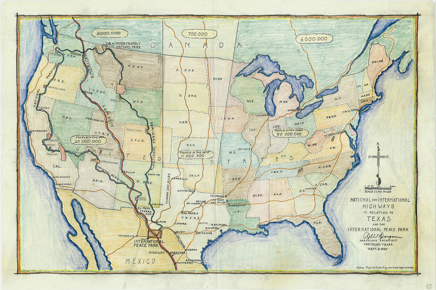 a 1935 map of the united states by albert w dorgan showing proposed highways routes leading to texas and mexico image courtesy national archives